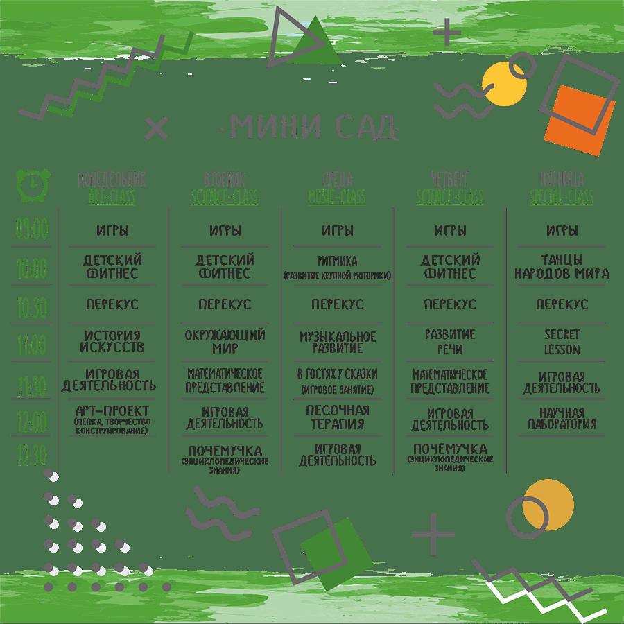 мини сад на Говорова 50, расписание развивающих занятий в группе КГП