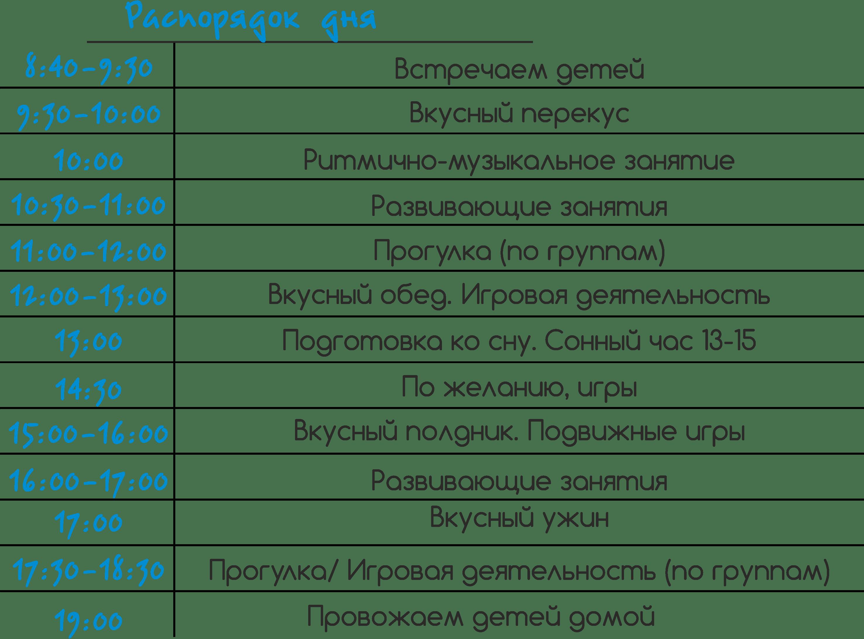 расписание занятий и распорядок дня в детском саду